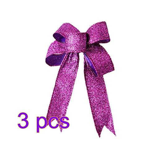 BESTOYARD 3 stücke Weihnachten Glitter Bogen Ornamente DIY Bogen Baum Topper Weihnachtsbaum Hängende Dekorationen Weihnachten Bogen Haarschmuck Urlaub Partei Liefert (Lila) (Tree Topper Bow)