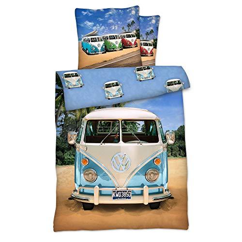 LINON Wende BETTWÄSCHE VW Bulli 135 cm x 200 cm + 80 cm x 80 cm NEU & OVP - 100{b41912bff553a889a0fdd8d969d6ce6f96ef1c9e7f0772bbc936dbecee04c7ba} Baumwolle Volkswagen VW Bus EXKLUSIV