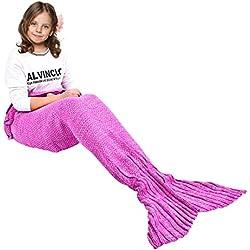 Ecrazybaby888 Hecho a Mano de Punto Manta de Cola de Sirena Todas Las Estaciones cálido sofá Cama Sala de Estar Manta para niño, Patrón Clásico con Encaje, Rosa Oscuro, 140 x 70cm