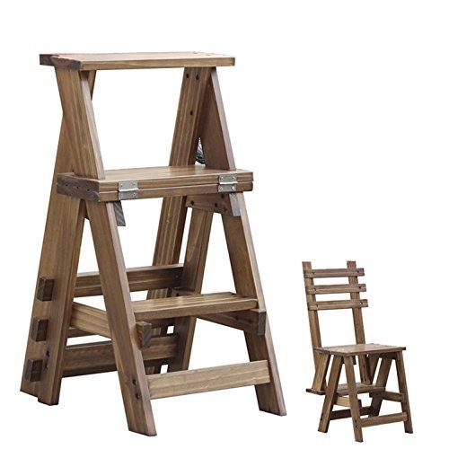 GAOJIAN Massivholz Dreilagige Klappleiter Multifunktionale Hochhocker Treppe Stuhl Leiter Hocker Haushalt Kleine Leiter Massivholz Dual-Use Klappleiter Flip Holzleiter