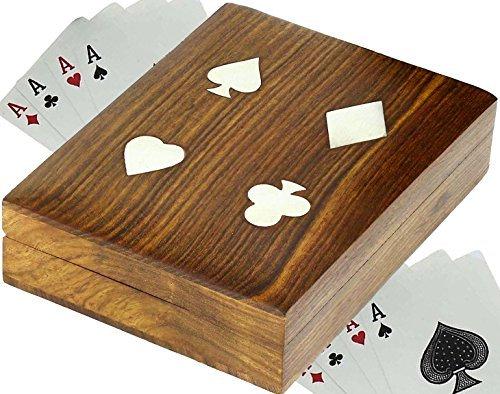 Titular de la tarjeta de madera hecho a mano para jugar a las cartas - 2 mazos de cartas de juego de primera calidad -16 x 11,9 x 3,8 cm