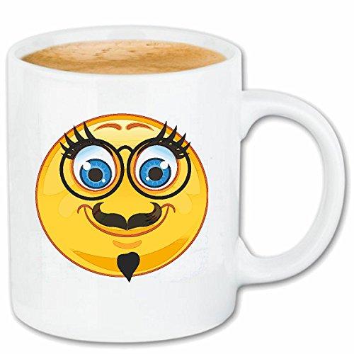 Reifen-Markt Kaffeetasse Alter GELEHRTER Smiley MIT Brille UND Schnurrbart Smileys Smilies Android iPhone Emoticons IOS GRINSE Gesicht Emoticon APP Keramik 330 ml