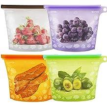 Bolsa de Alimentos, Reutilizables Envase de Bolsas de Preservación Versátil de Grado Silicona Alimenticio para