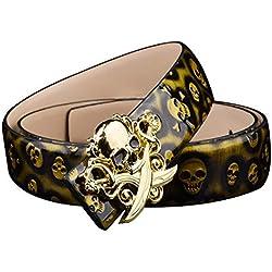 Lostryy- Cinturón de Personalidad para Hombre/cinturón con Tendencia de Calavera Hip Hop Callejero/se Puede Combinar con Jeans/Pantalones Casuales/Traje, Oro, 125 cm
