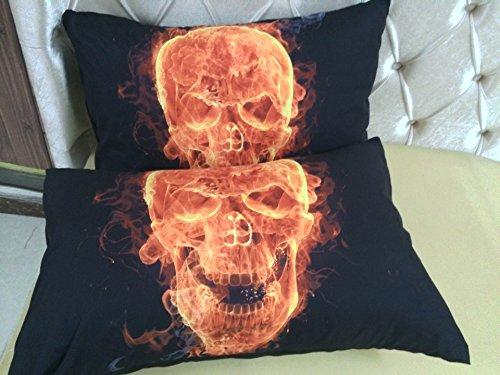 lkklily-bed Supplies Fire, Totenkopf und Kissenbezüge Bettwäsche von Kissenbezug 48* 74cm 48*74 Pillowcase (Shabby Chic Tröster Set)