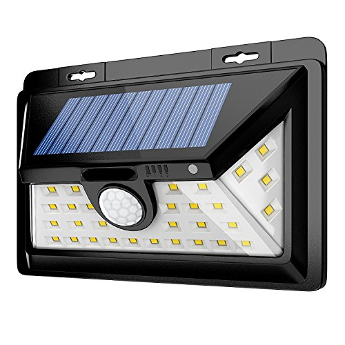 YESDA 24 LED Weitwinkel Solarleuchten Außen Solar Betriebene Außenleuchte, Wandleuchte, Energiesparende Wasserdichte 3 Modi Sicherheit Bewegungs-Sensor-Licht für den Garten, die Terrasse, die Beleucht (Wasserdicht Bewegungs-sensor-licht)