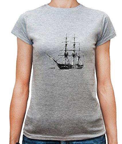 Mesdames T-Shirt avec Vieux bateau imprimé. Gris