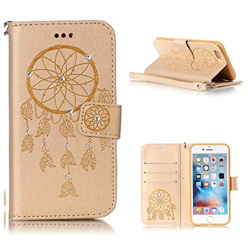"""MOONCASE iPhone 6 Coque, Bling Crystal Diamond Gaufrage Motif Portefeuille Housse en PU Cuir Étui de Protection Case pour iPhone 6 / iPhone 6s (4.7"""") (Fleur Bleu) Campanule Or"""