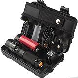SUCES 6000lm Original Shadowhawk X800 Taktische Taschenlampe L2 LED Military Torch Kit LED Taschenlampe mit Superheller Hochleistungs Taktische Tragbare Taschenlampe fürs Freie mit Einstellbarem Fokus (Black)