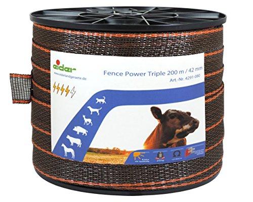 Weidezaun-Breitband Fence Power Triple 42mm, 200m braun-orange - sehr geringer Widerstand - optimal als Pferdeband oder für Rinder