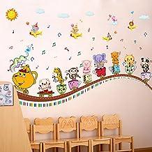 Dibujos animados elefante mono panda tazas globos pared adhesivo de papel para Home de Vinilo extraíble Living comedor dormitorio Cocina murales arte imagen Niñas Niños Kids Nursery bebé decoración