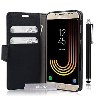zStarLn schwarz Hülle für Samsung Galaxy J7 2017 Hülle PU Leder Tasche Handytasche Zubehör Schutzhülle Etui + Stylus pen und 3 Films Schutzfolie