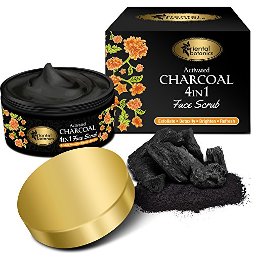 Oriental Botanics Activated Charcoal 4 IN 1 Face Scrub 100g - Exfoliate, Detoxify, Brighten & Refresh
