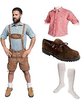 Herren Trachten B Set 5-teilig Trachten Lederhose * kurz * HELLBRAUN 46-60 Trachtenhemd Schuhe Socken Oktoberfest