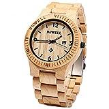 GBlife Bewell ZS - W086B Orologio da polso per Uomo in Legno Handmade leggero al quarzo orologio da uomo Analogico Digitale Classico Naturale (Verawood)