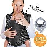 Makimaja - Fascia porta bebè 100% cotone - grigio scuro - tracolla di alta...