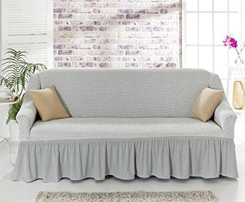 Sofaueberwurf elastisch / 3 Sitzer bezug / aus Baumwolle & Polyester in creme cream krem. Sofabezug / Stretch Husse / Sofa Bezug / Sofabezuege / Sofa Husse / Husse / Hussen