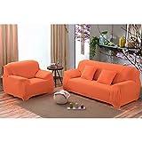 Chlove Sofabezug Elastische Sofa Abdeckung Sofaüberwurf Sesselhusse Stretchhusse in Verschiedenen Größen und Farbe3 Sitze 190-230cm Orange