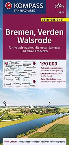 KOMPASS Fahrradkarte Bremen, Verden, Walsrode 1:70.000, FK 3315: reiß- und wetterfest mit Extra Stadtplänen (KOMPASS-Fahrradkarten Deutschland, Band 3315)