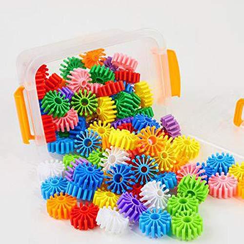 QXMEI Kinder Bausteine Spielzeug Kunststoff Zahnräder Montiert Puzzle 1-6 Jahre Alt Spielzeug,140capsules - Zahnrad-puzzle