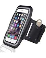 Cell Phone Armband: Running Jogging Sports Fitness Excercise Workout Cellphone Holder Case for iPhone 6, 6 Plus +, 5, 5S, 5C, 4, 4S, 3G, 3GS / Samsung Galaxy S6, S5, S4, S4 Active, S4 Mini, S3, S3 Mini, S2, Note 1, 2, 3, 4 / iPod Touch 3, 4, 5 / HTC ONE X, ONE S Z520E, Windows Phone 8 (AT&T, T-Mobile, Verizon) / Motorola DROID RAZR / LG G2 / G3, Nexus 4 / Nexus 6, P760 / Nokia Lumia 920, 820 / Sony Z1 Z2 Z3, - IPX8 Certified, BLACK