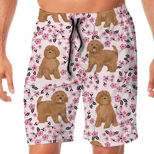 Ruby Cavoodle Cavapoo Dog Breed Cherry Blossom Surfing Pocket Elastic Waist Men's Beach Pants Shorts Beach Shorts Swim Trunks XX-Large Fox Girls Capris