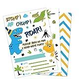 WERNNSAI Inviti di Compleanno di Dinosauri - 20 Pezzi Biglietti D'Invito Stile Fill-in con 20 Pezzi Buste Articoli per Feste di Dinosauro per Ragazzi Compleanno Baby Shower