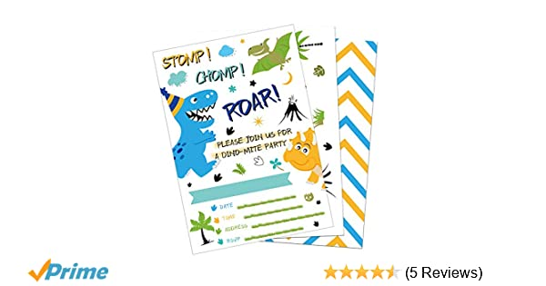 20 Pieces Fill-in Invitation Cards with 20 Pieces Envelopes Dinosaur Party Supplies for Boys Birthday Baby Shower WERNNSAI Dinosaur Birthday Invitations