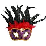 1 Stück venezianische Maske mit Federn, Venezianermaske, Augenmaske, Karneval, Fasching Party Maske, 2440 (lila - rot - gold)