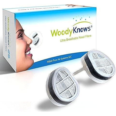 Filtro Ultra Traspirante (Nuovo Modello) / Filtri nasali per la Prevenzione di Allergie da Fieno, Pollini e Polvere, Allergie da Peli e Pelli Animali, Asma Allergico, Mitiga e da Sollievo contro Sinusiti e Riniti, Blocca Allergeni e Polveri Sottili Presenti nell'Aria, Depuratore Portatile d'aria, Maschera Antiparticolato Hepa, Soluzione Alternativa agli Spray Nasali, Pulizia Kit di Prova (2 Filtri endonasali e 6 paia di filtri di ricambio) (IV-S)