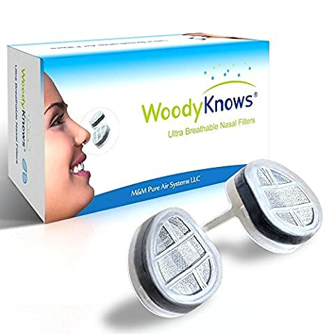WoodyKnows Ultra Breathable Nose / Nasal Filters (New Model) for Hay Fever, Pollen & Dust Allergies, Pet Hair and Dander Allergy, Allergic Asthma, Sinusitis, Rhinitis Relief Reliever, Block Allergens Airborne Particles, Portable Air Purifier Cleaner Mask Hepa Screen, Alternitives of Medicine Spray Strips, Breathe Easy Pure Right Free, Grooming Gardening Tanning Tan Help Tools Kit(2 Filter Frames and 6 Pairs of Replacement Filters) (II-R)