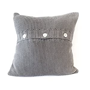 Housse de coussin point mousse – Gris anthracite 50 x 50 x 50 cm