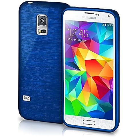 Funda protectora OneFlow para funda Samsung Galaxy S5 / S5 Neo Carcasa silicona TPU 1,5mm | Accesorios cubierta protección móvil | Funda móvil paragolpes bolso cepillado aluminio diseño en Navy-Blue