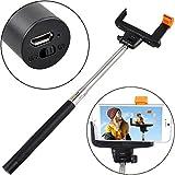 Selfie Stick telescopico, senza fili, con comandi Bluetooth e adattatore regolabile per Smartphones, funge anche da monopiede per fotocamere e cellulari nero