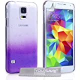 Yousave Accessories Samsung Galaxy S5 Case Purple / Clear Raindrop Hard Cover