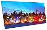 Miami Ocean Drive Beach Night Box Rahmen Leinwand Kunstdruck Panorama Bild, 80cm wide x 40cm high