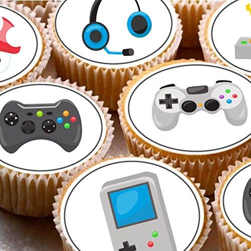 Print4you 24Adornos para Tartas 4cm Diseño de Cupcake imágenes-Gaming Gamer Juegos Xbox PS DS