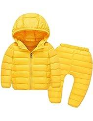 M&A Unisex Traje Plumas Conjunto Plumón Abrigo Chaqueta Invierno Con Capucha+Pantalones Plumas Esquí Nieve Impermeable Acolchado Niño Niña