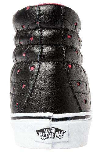 Vans Sk8-Hi Slim Leather Perf Hearts Black Red Marrone