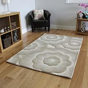 tapis de design beige uni fleurs en relief effet 3d 100. Black Bedroom Furniture Sets. Home Design Ideas