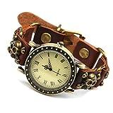 KUNCC Armbanduhr, Römische Ziffern, Leder Accessoires, Einfache Retro Persönlichkeit (Braun)