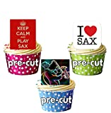 Keep Calm and Play, Sax, Saxophon und Saxophon Player Silhouette Party Pack–essbar Stand-up Cupcake Topper (36Stück)