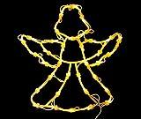 * Leuchtendes Fensterbild mit 35 LEDs | Fünf Motive: Engel Baum Rentier Stern Sternschnuppe | Netzanschluss + Saugnapf | Fensterdeko Weihnachtsdeko Weihnachtsleuchte (Engel)