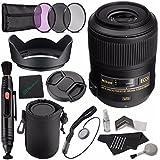 Nikon AF-S DX Micro NIKKOR 85mm F/3.5G ED VR Lens + 52mm 3 Piece Filter Set (UV, CPL, FL) + LENS CAP 52MM + 52mm Lens Hood + Lens Pen Cleaner + Cleaning Cloth + Lens Cap Keeper + SLR Lens Pouch Bundle