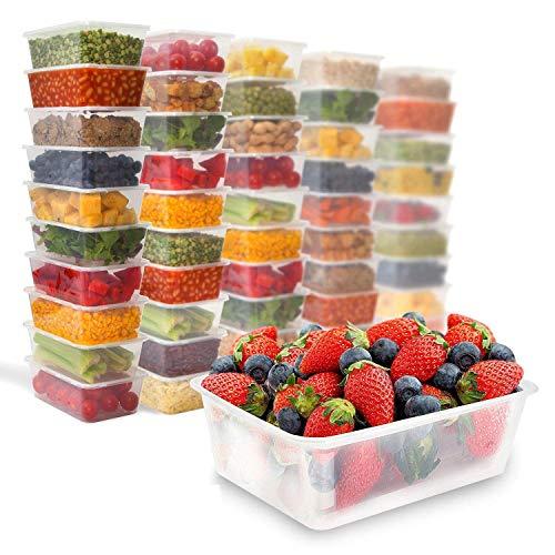 Zuvo 50x rectangulaire micro-ondes 1000ml en plastique transparent Boîtes Congélation pour plats chaud froid Foods, 170 (W) x 120 (L) x 70 (H)mm