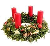 Adventskranz *Pure Weihnachtsfreude* in rot frisch gebunden mit Tannengrün, Kerzen rot, Deko Holz natur mit Sternen, Ilex und Gleditschie, Size 95 Euro