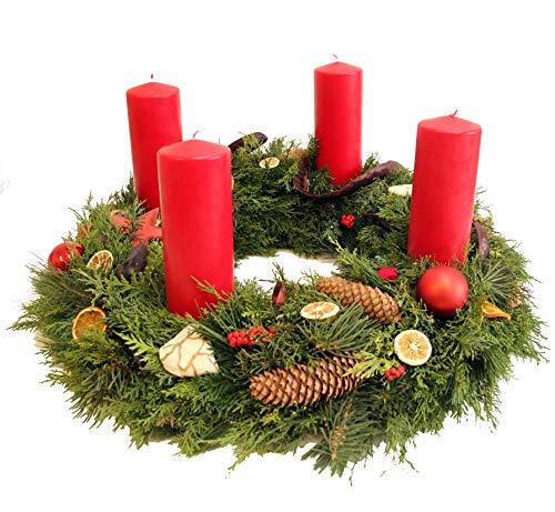 Adventskranz groß - dieser Weihnachtskranz *Pure Weihnachtsfreude* ist in rot mit frischer Tanne gebunden & modern/natürlich dekoriert, Size 135 Euro