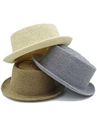 QianHaoQJu gentleman Fashion Sun cappello lettera Dad paglietta Fedora  cappelli Dad Flat Pork Pie spiaggia cappello d278935479df