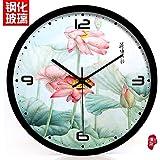 pingofm chino relojes sala de estar hetang Qingyun reloj silencioso reloj de pared cuarzo clock224, Lotus, reloj de pared, Black metal frame, 8 pulgadas