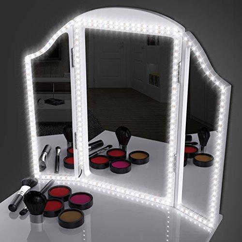 Led Spiegelleuchte Schminklicht mit Dimmbar, Electribrite Led Eitelkeits Licht Streifen 4M/13Ft Tageslicht 6000K Make Up Licht Streifen für Schminkspiegel. Spiegel Nicht Inbegriffen (Licht, Make-up-spiegel)